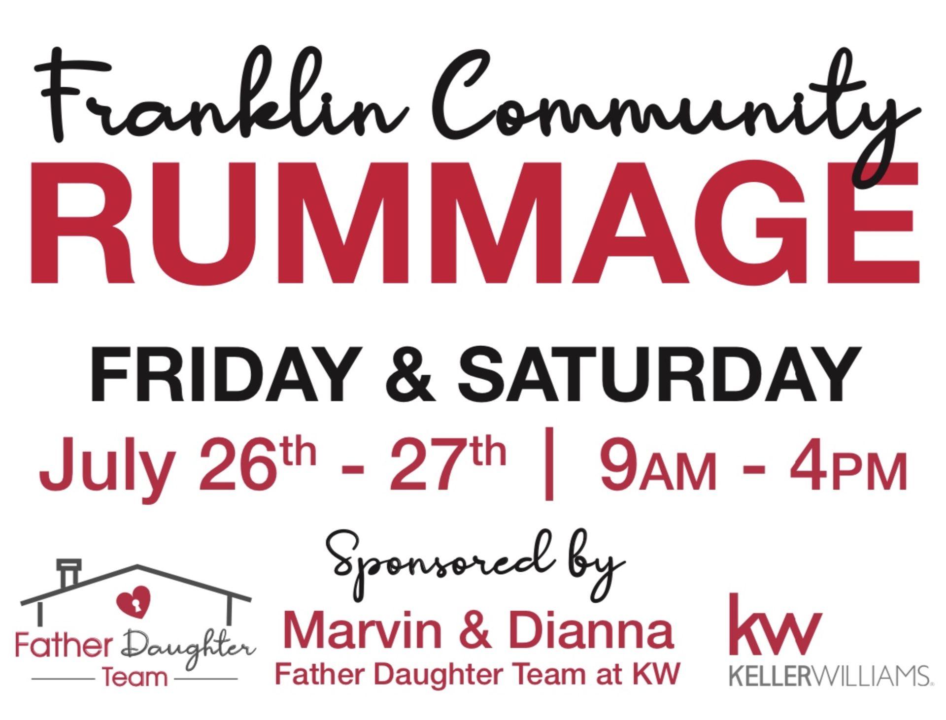 Franklin Community Rummage Sale! July 26th -27th