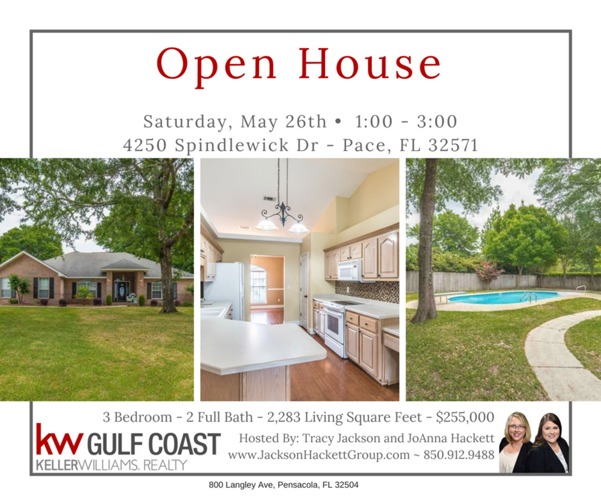 OPEN HOUSE 4250 Spindlewick Dr May 26, 2018