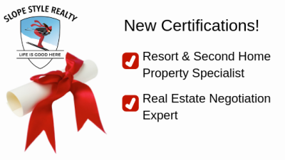 New Certifications Earned: Resort & Second Home Property Specialist and Real Estate Negotiation Expert