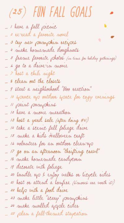 25 Fun Fall Goals