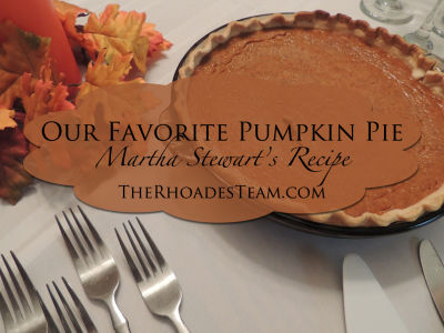 Our Favorite Pumpkin Pie (Martha Stewarts Recipe)
