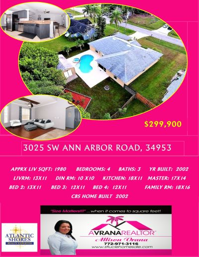 Open House, 3025 SW Ann Arbor, Port St Lucie Florida, 34953 Home For Sale