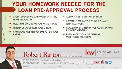 Buying a Home DFW, Tarrant, Parker; Step#2- Mortgage Pre-Approval