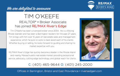 Welcome, Tim O'Keefe, REALTOR® to RE/MAX River's Edge!