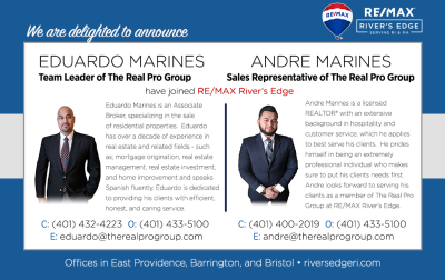 Welcome, Eduardo & Andre Marines of the Real Pro Group to RE/MAX River's Edge!