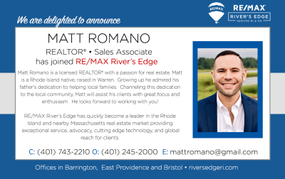 Welcome Matt Romano, REALTOR® to RE/MAX River's Edge!