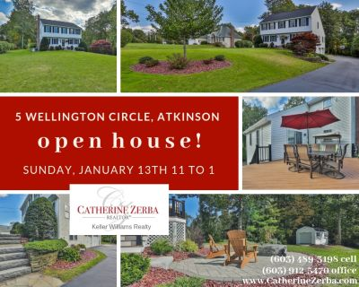 OPEN HOUSE – SUNDAY, JANUARY 13th from 11am to 1pm at 5 WELLINGTON CIR, ATKINSON