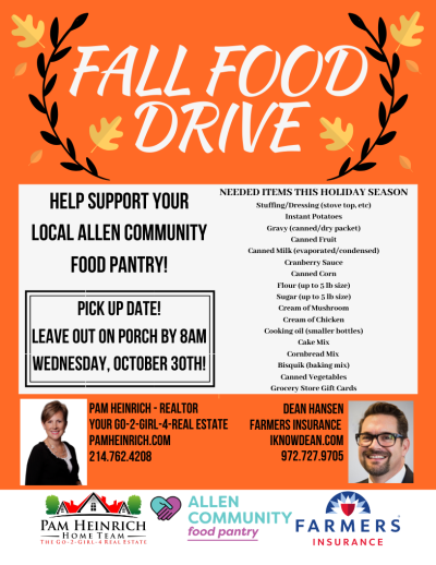 Fall Food Drive 2019 – For The Allen Community Food Pantry!