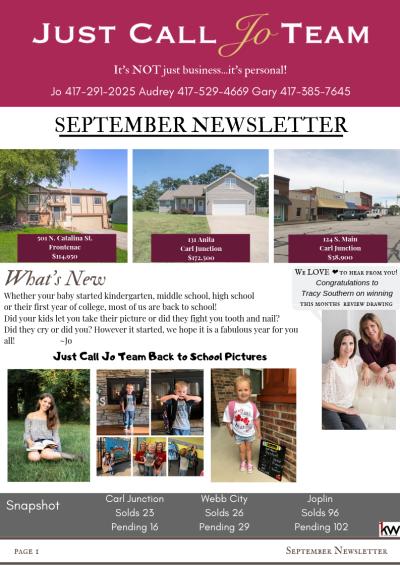 September Newsletter from the Just Call Jo Team
