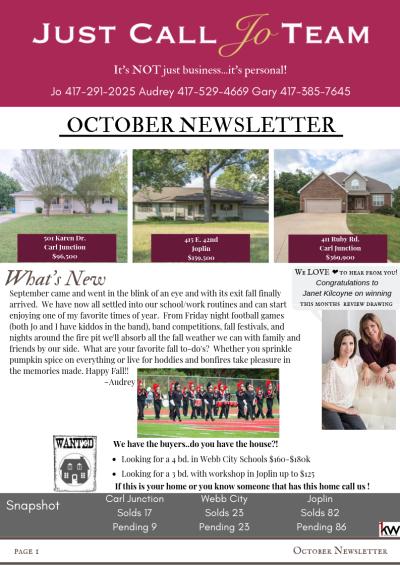 Just Call Jo Team October Newsletter