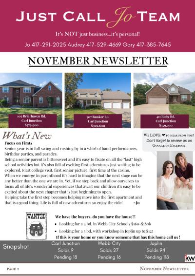 Just Call Jo Team November Newsletter