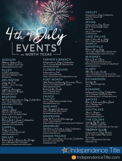 North Texas 4th of July EVENTS!