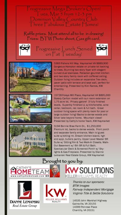 Broker's Open March 3 – 12-3 PM in Dominion Valley