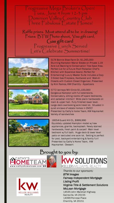 Broker's Open June 4 – 12-3 PM in Dominion Valley