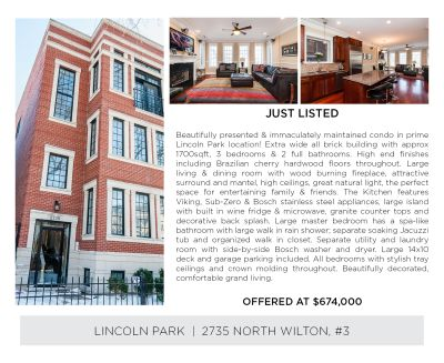 2735 N. Wilton Ave #2 – Luxury Lincoln Park Living Steps To El Train! NEW LISTING Opportunity