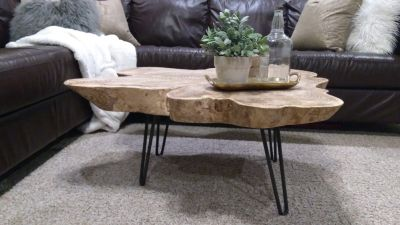 DIY Wooden Slab Coffee Table