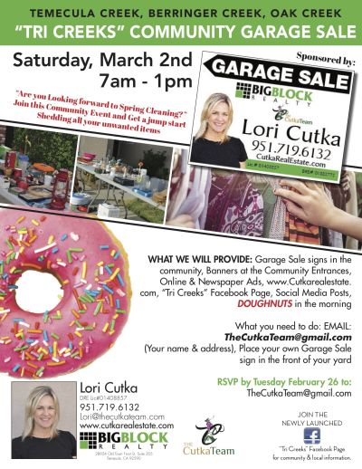 Tri-Creeks Garage Sale Saturday March 2nd, 2019
