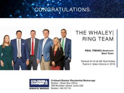 Whaley/Ring team named #4 Real Estate team in sales volume in 2018