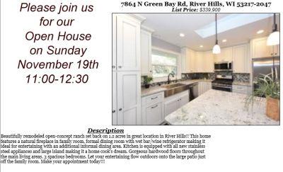 Open Houses Sunday November 19th