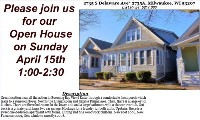 Open Houses Sunday April 15th