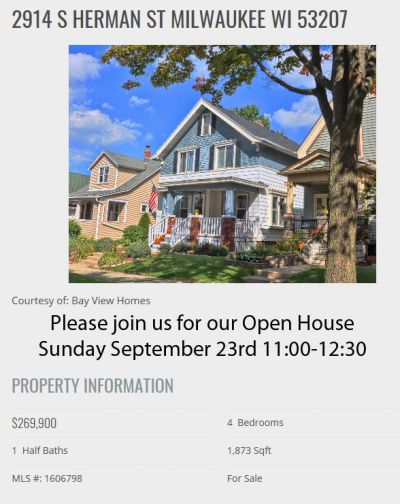 Open Houses Sunday September 23rd