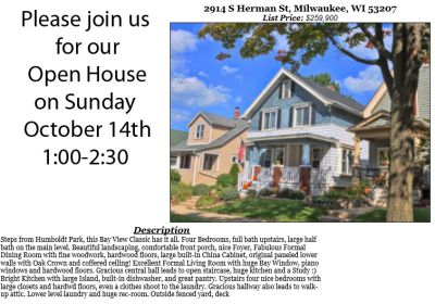 Open Houses Sunday October 14th