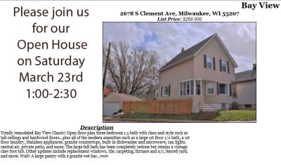 Open Houses Saturday March 23rd