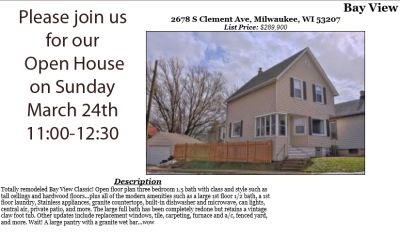 Open Houses Sunday March 24th
