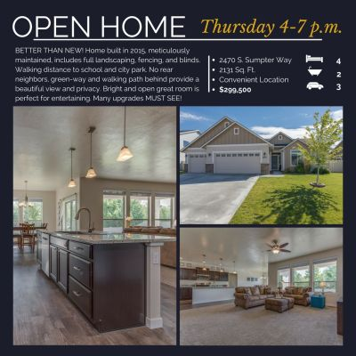 OPEN HOME- THURSDAY 07/27/17 4-7 PM