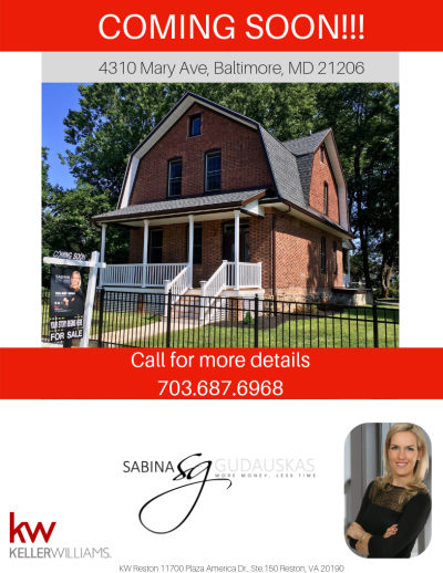 Stunning, all brick, fully renovated (only shell is original) 4 beds????/ 3.5 baths ???? on a large fully fenced in flat lot. Coming Soon (August 13th) in Baltimore! Call me for more details or a private showing. Sabina 703.687.6968