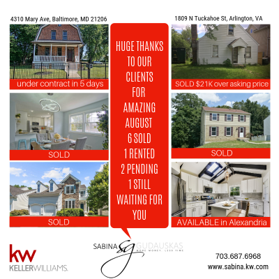 Huge THANKS to all our amazing clients for outstanding August!!! 6 SOLDs, 1 RENTED, 2 PENDINGS, 1 stunning property still AVAILABLE in Alexandria.  WHO CAN WE HELP NEXT????❤️????