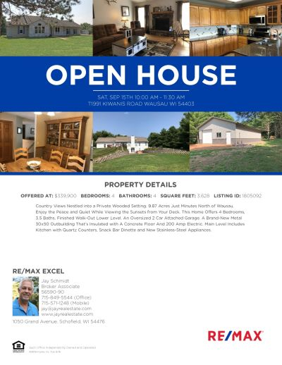 OPEN HOUSE T1990 KIWANIS ROAD, WAUSAU