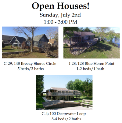 Council Grove City Lake Open Houses – Sunday, July 2nd