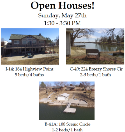 Council Grove City Lake Open Houses – Sunday, May 27th