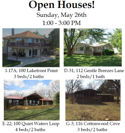 Council Grove City Lake Open Houses – Sunday, May 26th