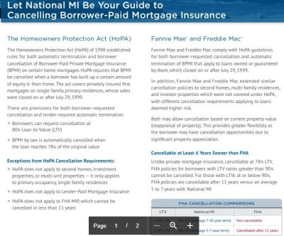 Mortgage Insurance Cancellation