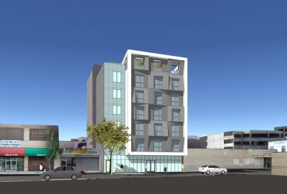 Contemporary seven-story affordable housing complex planned for Skid Row. 40 units for very low-income tenants