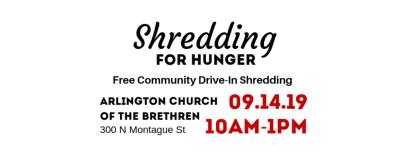 Shredding for Hunger – Free Community Drive-In Shredding Event