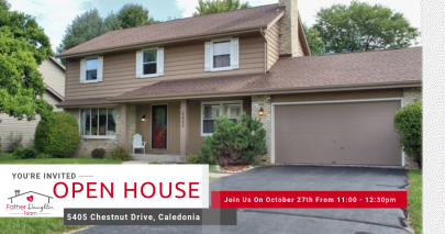 Open House – Sunday, October 27th 11am-12:30pm at 5405 Chestnut Dr