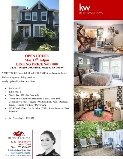 OPEN HOUSE- MAY 13th 1-4PM| A MUST SEE!! Beautiful 3 level 3BD 2.5 BA townhome in Reston