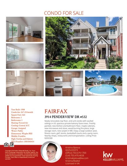 CONDO FOR SALE IN FAIRFAX/PENDERBROOK SQ/TOP FLOOR, CORNER UNIT, PRIVATE BALCONY WITH STORAGE, COMMUNITY POOL AND TENNIS COURTS