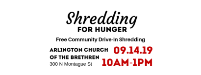 Shredding for Hunger – Free Community Drive-In Shredding Event