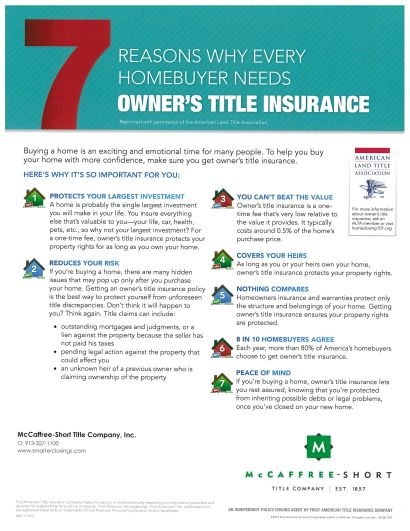Seven Reasons Why Every Homeowner needs Owner's Title Insurance