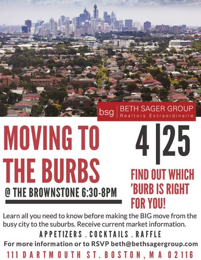 Moving to the Burbs Seminar April 25th