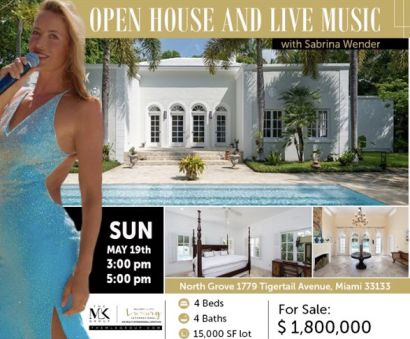 Open House & Live music Sunday 5/19 3-5pm at 1779 Tigertail Ave