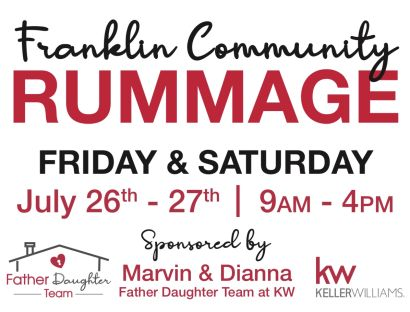 Franklin Community Rummage Sale! July 26th -27th