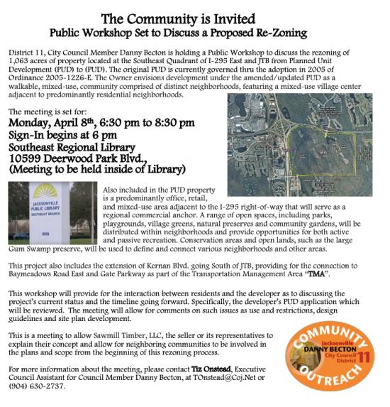Public Workshop Regarding 1,000+ Acre Development at 295 & JTB