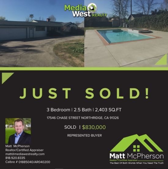 Just Sold 17546 Chase Street Northridge 91325