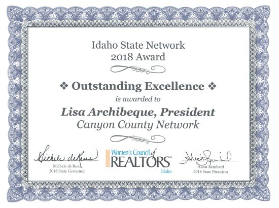 2018 Award to Lisa Archibeque | Women's Council of REALTORS® Canyon County President