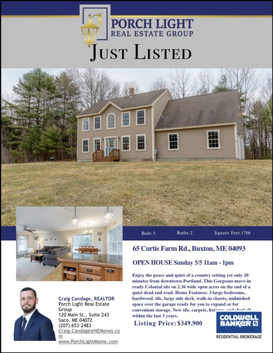 Just Listed – 65 Curtis Farm Rd. Buxton